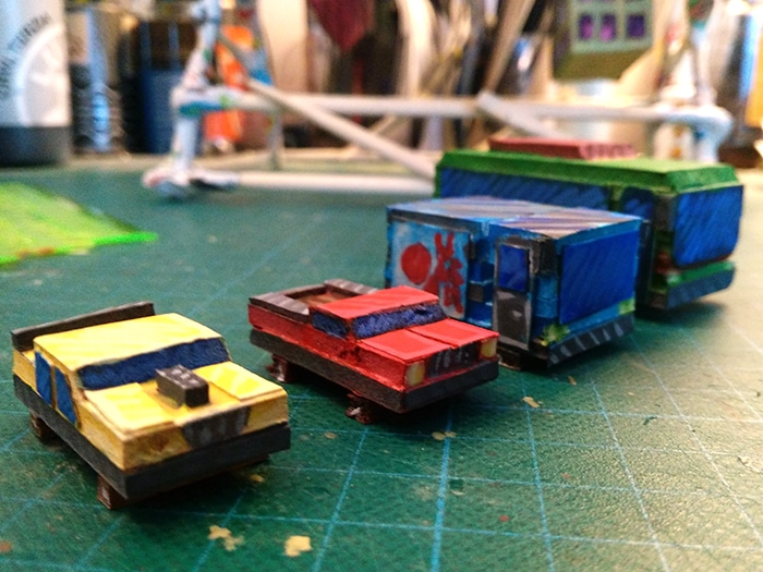 cars bus truck for stop motion cylinder rotating city
